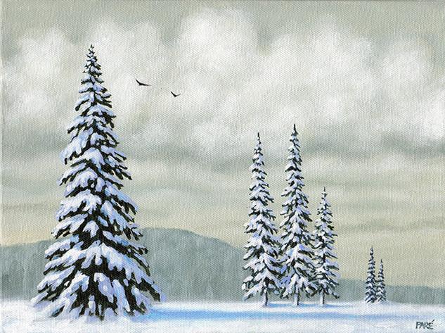 Snow Covered Evergreens 9x12 acrylic.jpg