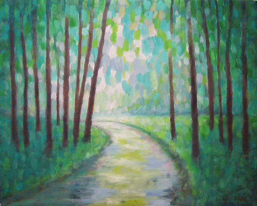 """Forest Path"" oil on canvas 11 x 14"