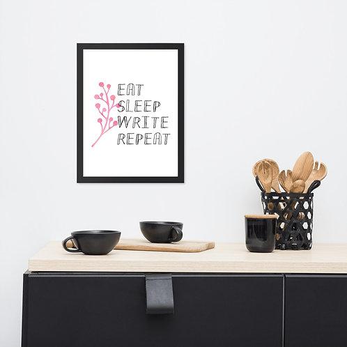 eat sleep write repeat flower Framed poster