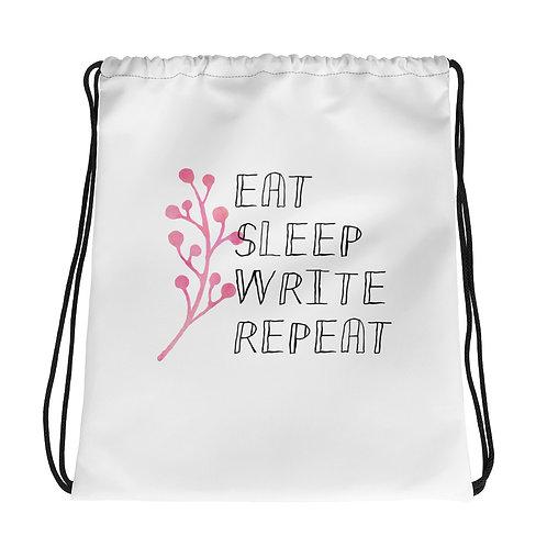 eat sleep write repeat flower Drawstring bag