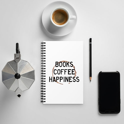 books coffee happiness Spiral notebook