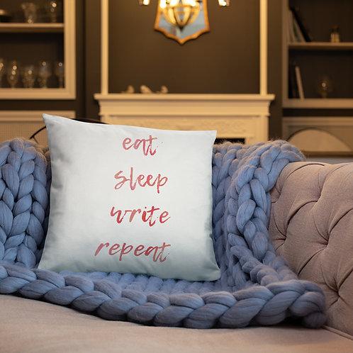 eat sleep write repeat Basic Pillow