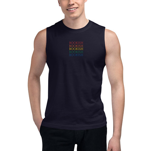 bookish rainbow embroidered Muscle Shirt