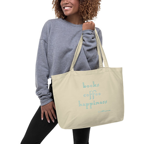 books coffee happiness blue Large organic tote bag
