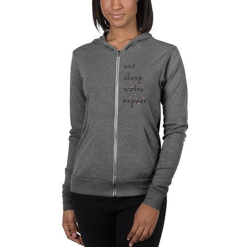 eat sleep write repeat Unisex zip hoodie