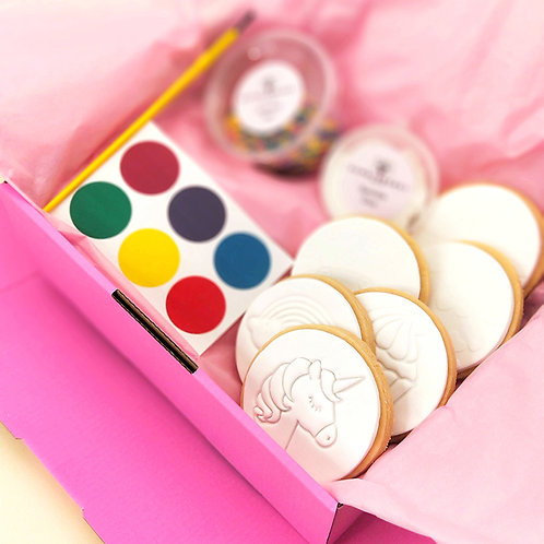 Unicorn and Rainbow paint your own cookie set