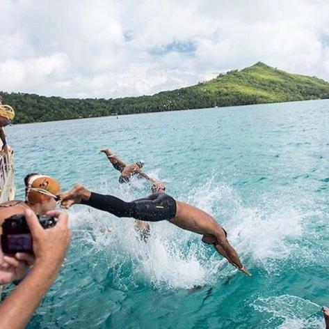 Jumping into the Bora Bora Lagoons