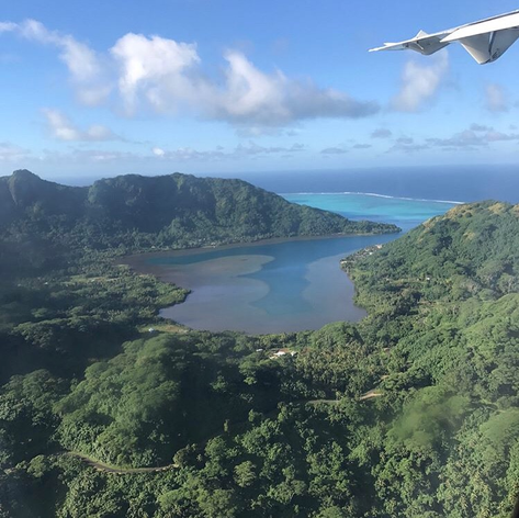 Views from plane into Bora Bora