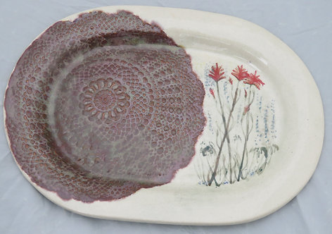 Arlene's Doily and Indian Paintbrush Platter