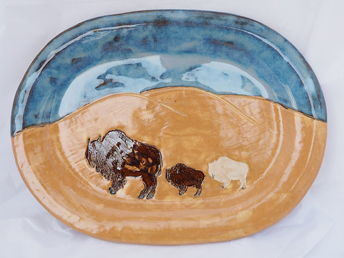 Fall Bison Family with Special One Platter