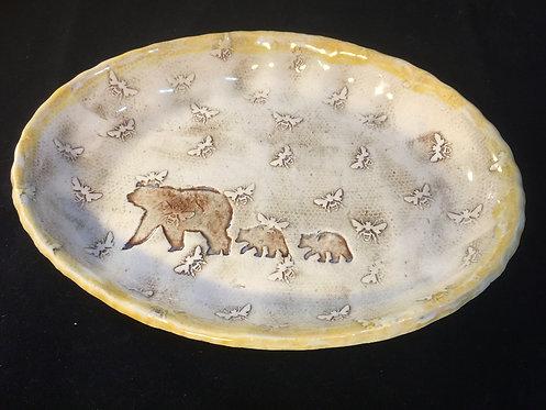 Bear Family in Honeycomb Baking Dish