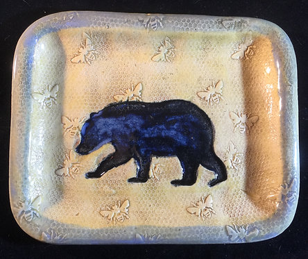 Bear and Honey Bees with Arctic Blue Rim