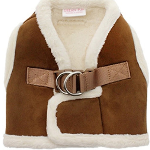 Urban Pup Luxury Brown & Cream Faux Shearling Harness