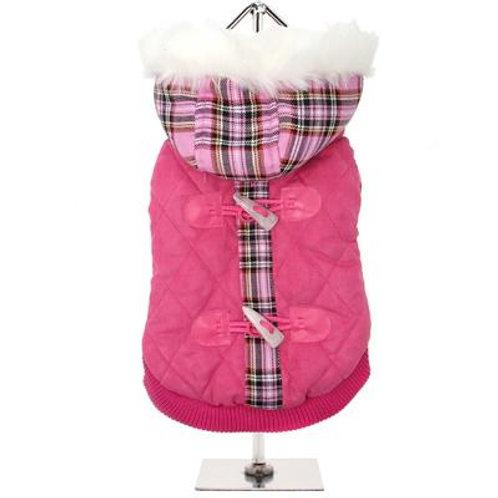 Urban Pup Pink Tartan Quilted Coat