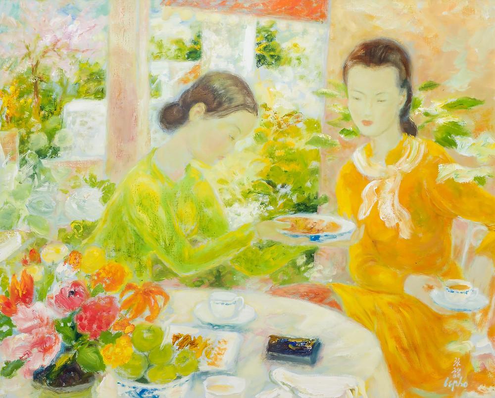 two women at tea time in a sunlit room with flowers