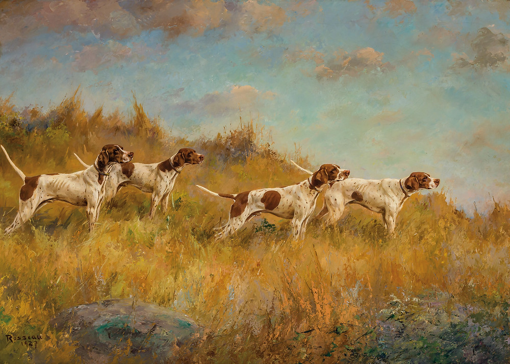 Four hunting dogs in a field