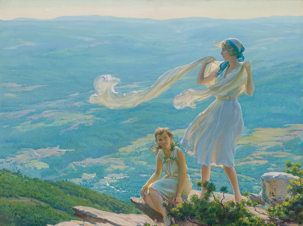 Painting of two young women on a cliff overlooking the valley.