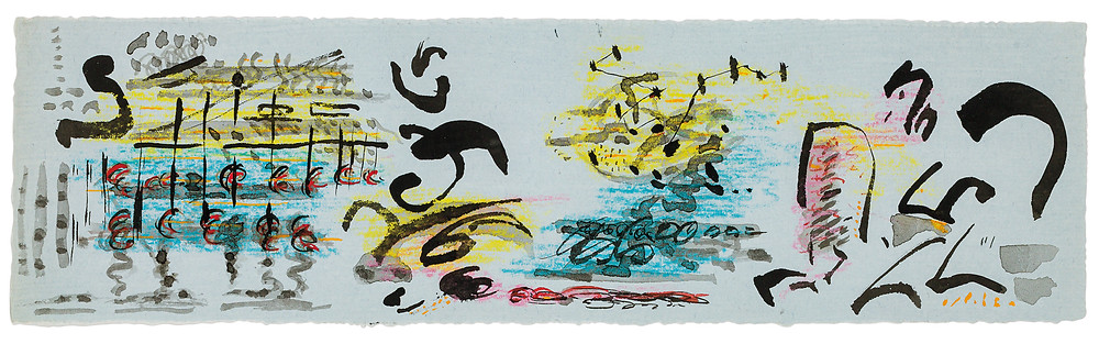 Jackson Pollock, ink and gouache drawing on light blue paper