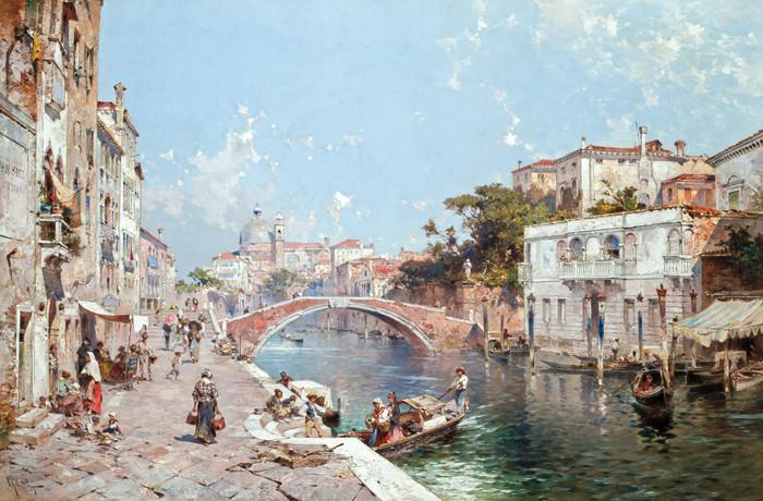 busy 19th century Venetian canal scene