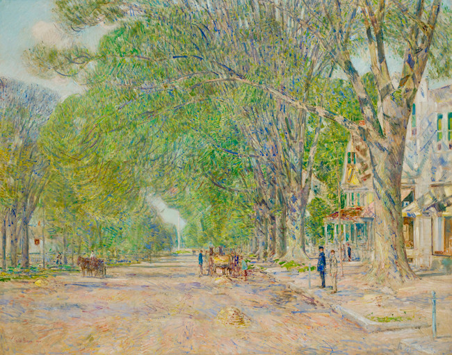 Painting of a park scene in the early Summer.