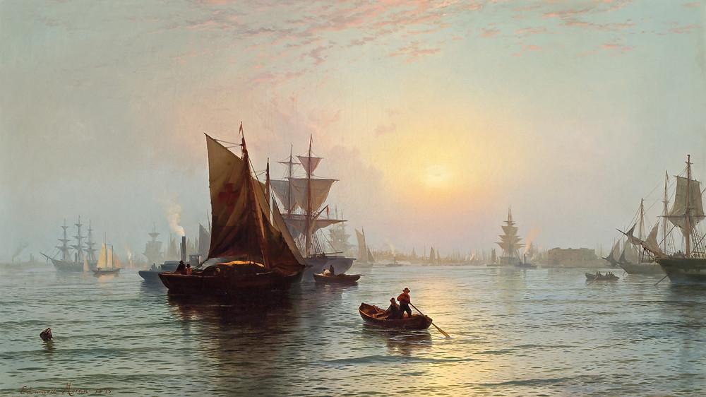ships at sunrise in new york harbor