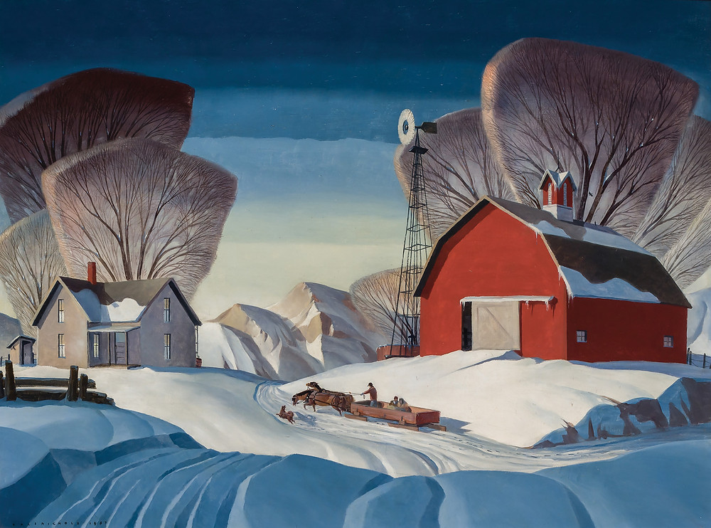 Snow covered hilly landscape with farm house and red barn.