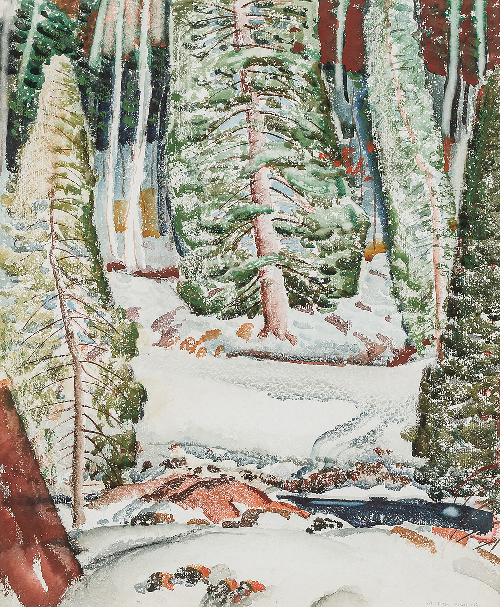 Winter landscape watercolor with trees in snow by Victor Higgins.