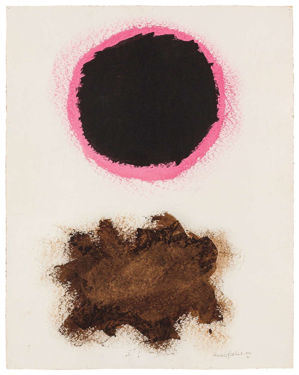 abstract painting with a black orb over a dark brown scribble