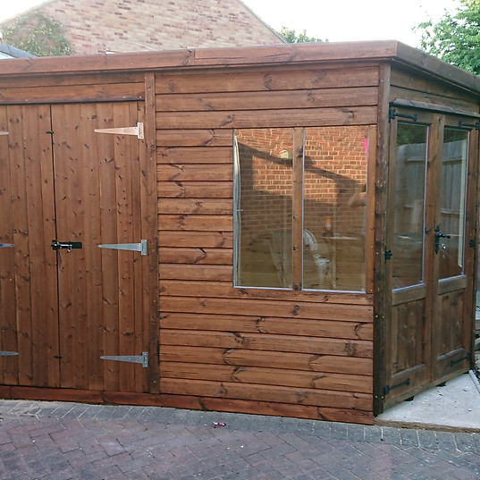 Garage with add-on shed