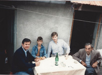 Steve engaged in field work with Cédo Eror and cousins from Belgrade at Vrhovina, Croatia