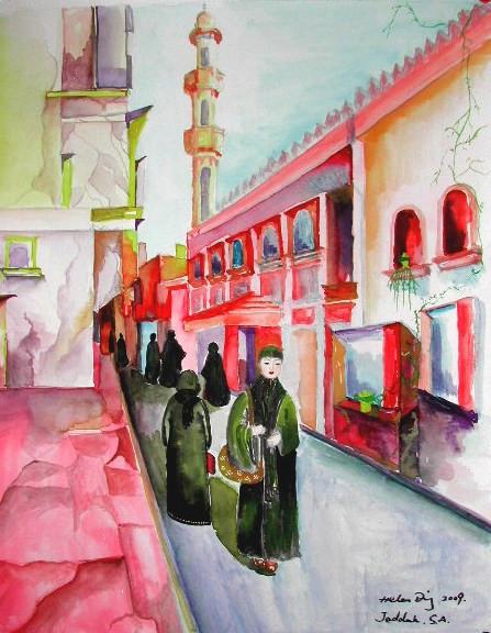 watercolor Helen in Jeddah street.JPG