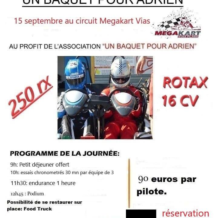 """endurance """"un baquet pour Adrien"""""""