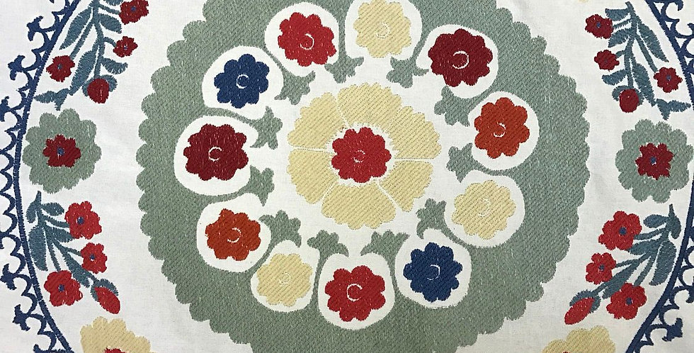 Embroidered Floral Medallion Red - Blue - Yellow
