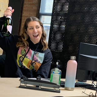 Jessica has a gift for David and we say cheers to a successful production!