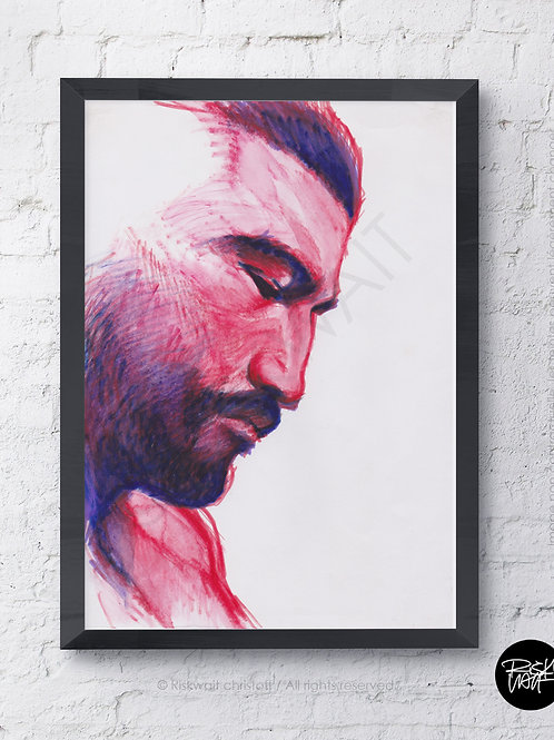 Portrait Colors n°14 - Profil homme rouge