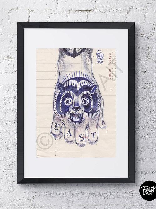 "Portrait ""agenda "" n° 2 - Main tatouée"