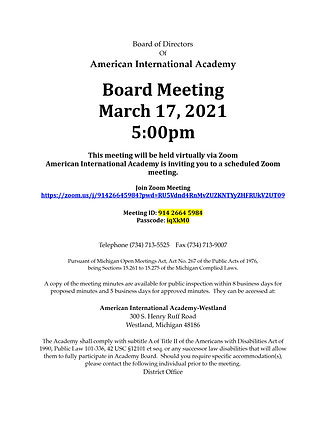 AIA Board Meeting Notice March 17, 2021-