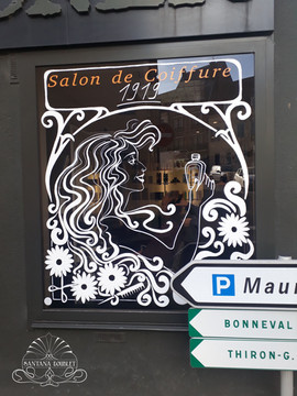 Décor pour la boutique d'un salon de coiffure