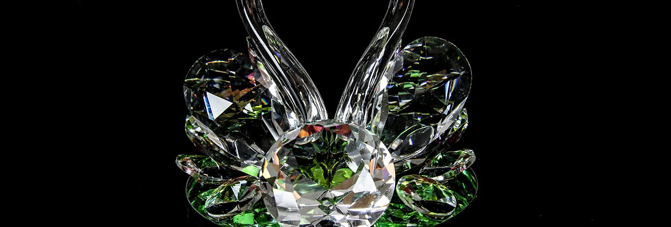 Decorative Crystal - Two Swans with Green base