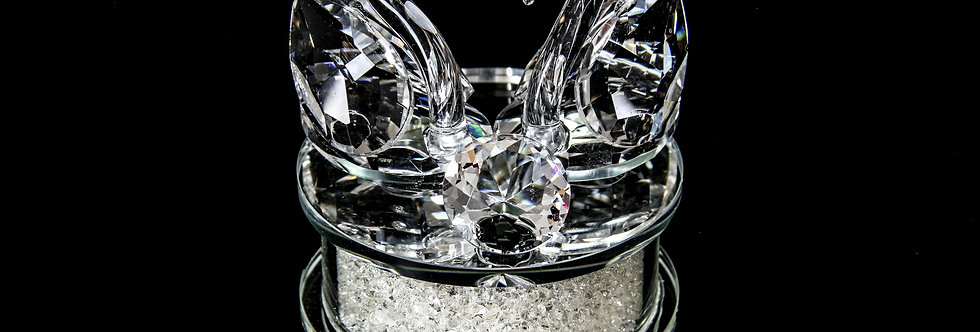 Decorative Crystal - Two Swans with Diamond Base