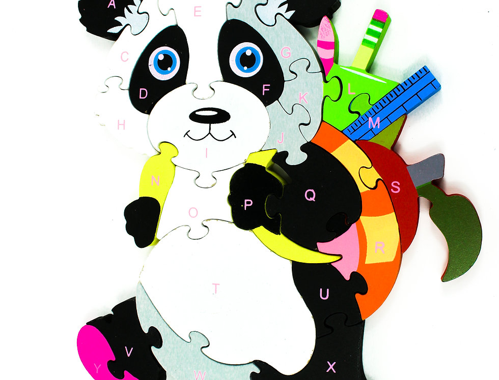 Puzzle Panda With Bagpack