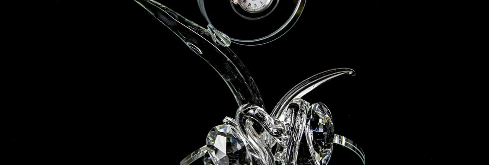 Decorative Crystal - Two Swans with Clock
