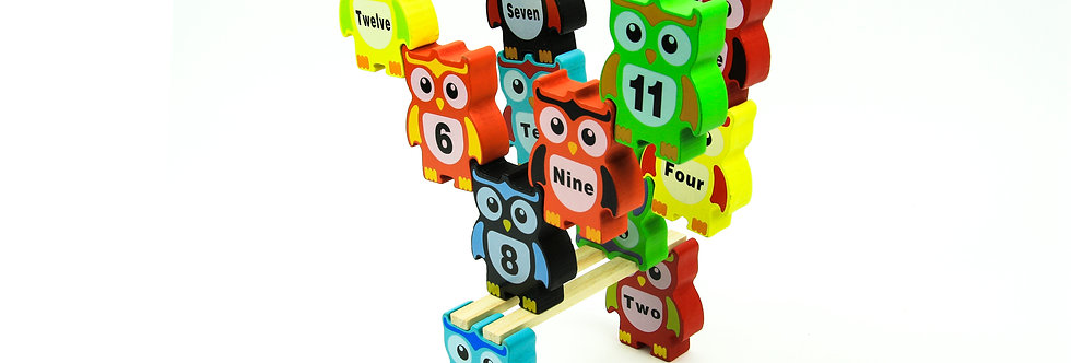 Wooden Stacking Owls 14 Piece