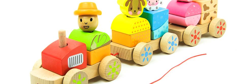 Wooden Animal Block Train