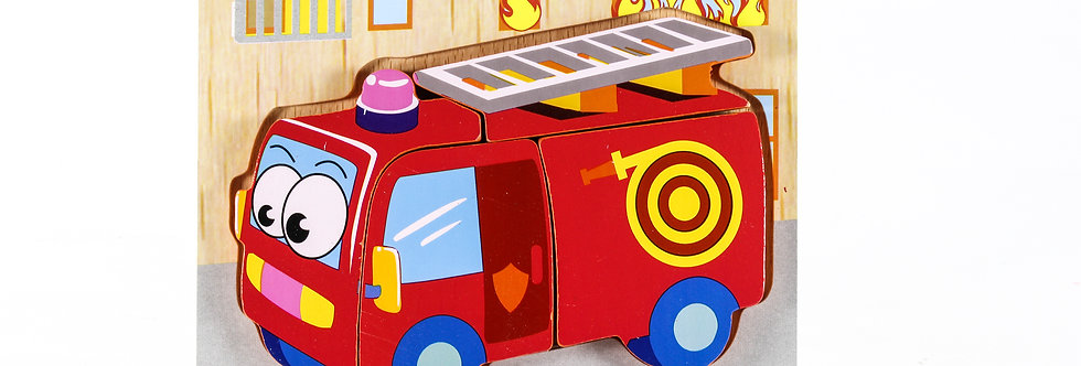 Wooden Fire Truck Puzzle