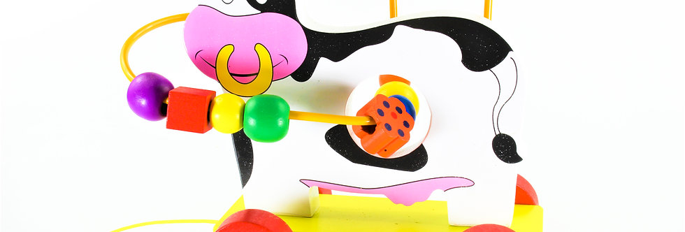 Wooden Pull Along Bead Maze Cow