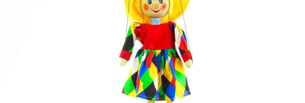 Wooden Puppet Clown Girl