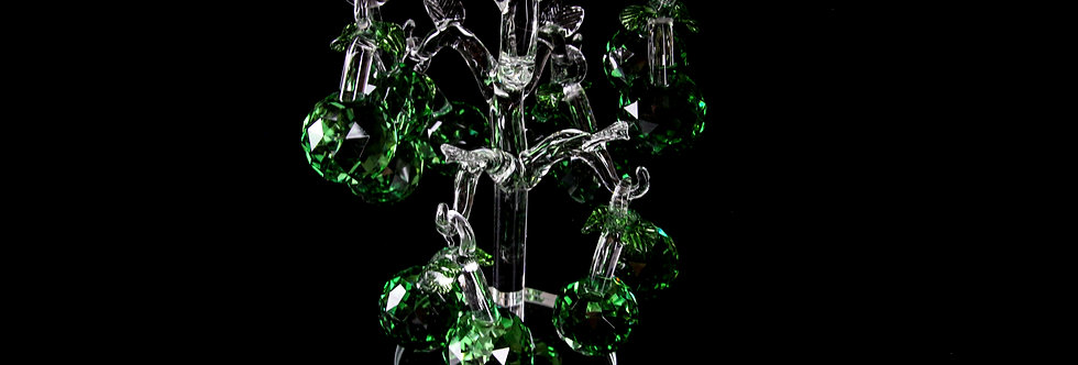 Decorative Crystal - White Tree with Green Fruits
