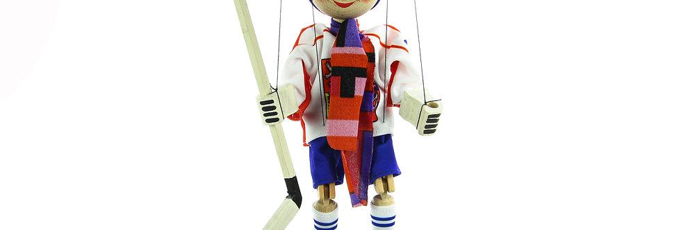 Wooden Puppet Hockey Player