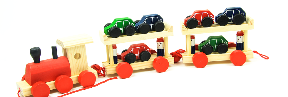 Wooden Car Transporter train Toy